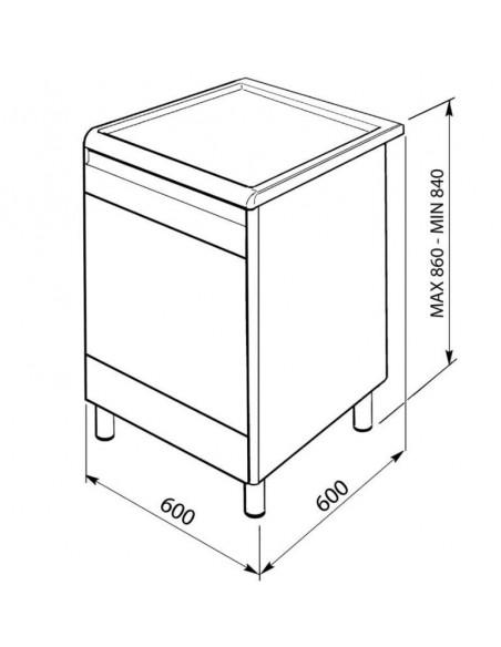 Cuisiniére  gaz 60 cm Porte Miroir  Inox SMEG