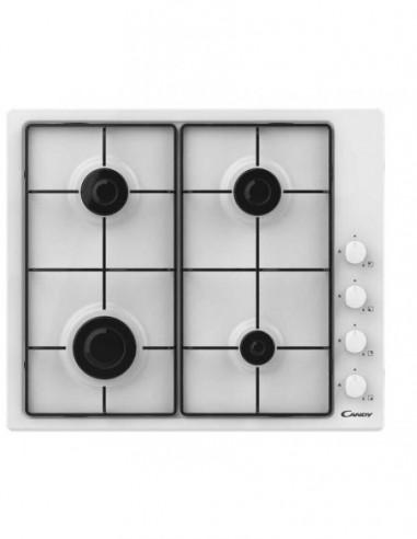 Table de cuisson Blanche 4 Feux Gaz CANDY CHW640WLW