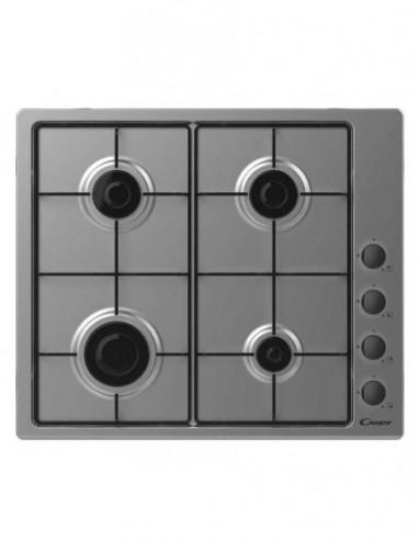Table de cuisson Inox 4 Feux Gaz CANDY CHW640LXB